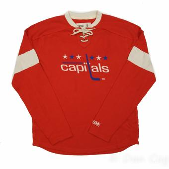 Washington Capitals CCM Reebok Red Lace Up Long Sleeve Fleece Crew (Adult XL)