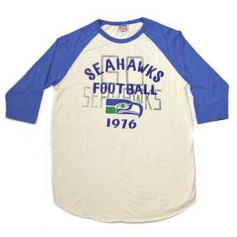 Seattle Seahawks Junk Food Cream 3/4 Sleeve Name & Logo Tee Shirt (Adult XL)
