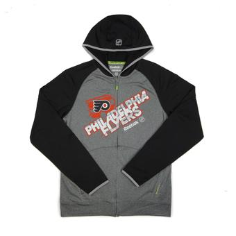 Philadelphia Flyers Reebok Grey TNT Performance Full Zip Hoodie (Adult XL)
