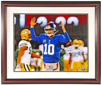 Eli Manning Autographed NY Giants 16x20 Framed Photo w/200 TD Inscription (Steiner)