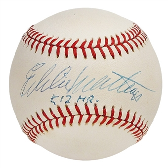 Eddie Mathews Autographed Official Major League Baseball (GAI COA)