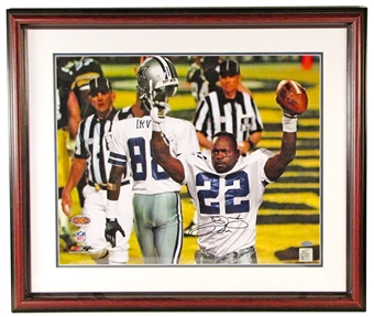 Emmitt Smith Autographed Dallas Cowboys Framed 16x20 Photo (Steiner)