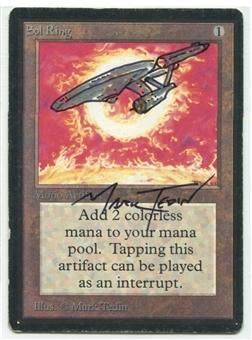 Magic the Gathering Beta Single Sol Ring Single ARTIST SIGNED & ALTERED - MODERATE PLAY