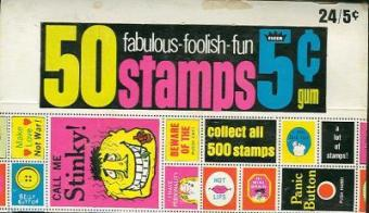 Fabulous Foolish Fun Stamps Trading Cards Wax Box (1967 Fleer)