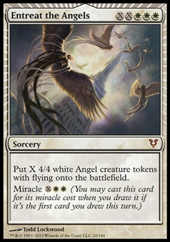 Magic the Gathering Avacyn Restored Single Entreat the Angels FOIL - MODERATE PLAY (MP)