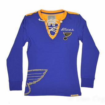 St. Louis Blues Old Time Hockey Royal Rachel Womens L/S Jersey T-Shirt (Womens S)