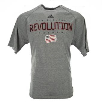 New England Revolution Adidas Gray Climalite Performance Tee Shirt (Adult L)
