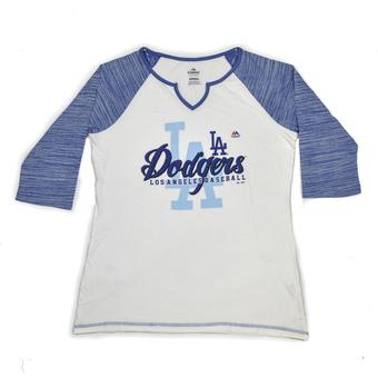 Los Angeles Dodgers Majestic White Victory is Sweet 3/4 Sleeve Tee Shirt (Womens XXL)