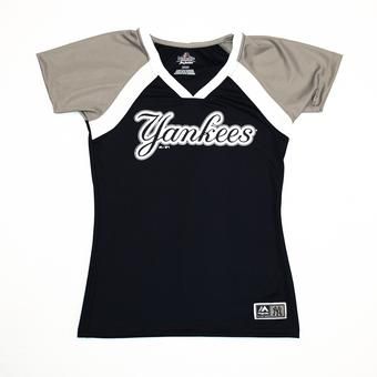 New York Yankees Majestic Navy Forged Classic V-Neck Tee Shirt (Womens L)