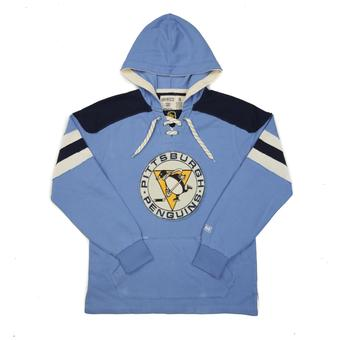 Pittsburgh Penguins CCM Reebok Light Blue Lace Up Fleece Jersey Hoodie (Adult L)