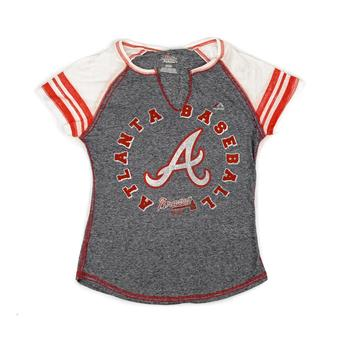 Atlanta Braves Majestic Navy More Than Enough Tee Shirt (Womens L)