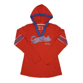 Washington Capitals CCM Reebok Red Classics Long Sleeve Hooded Tee Shirt (Womens M)