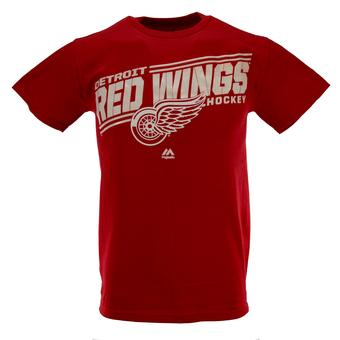 Detroit Red Wings Majestic Red Home Ice Advantage Tee Shirt (Adult L)