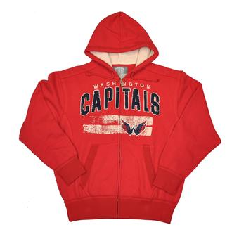 Washington Capitals Old Time Hockey Sumner Red Full Zip Hoodie (Adult XXL)