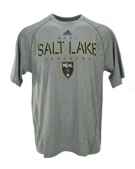 Real Salt Lake Adidas Gray Climalite Performance Tee Shirt (Adult L)