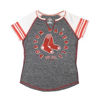Boston Red Sox Majestic Navy More Than Enough Split Neck Tee Shirt (Womens XL)