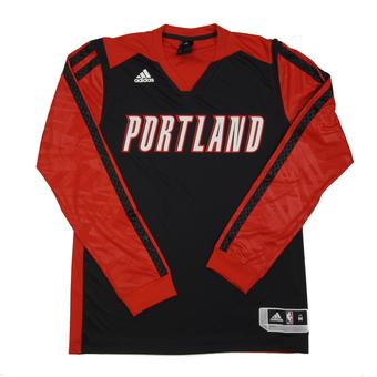 Portland Trail Blazers Adidas Black On Court Shooter Long Sleeve Performance Tee Shirt (Adult L)