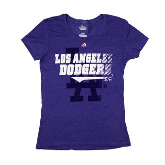 Los Angeles Dodgers Majestic Blue Take That Tee Shirt (Womens L)