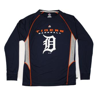 Detroit Tigers Majestic Navy Coverage Long Sleeve Performance Tee Shirt (Adult L)