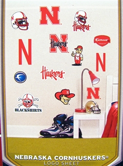 "Fathead Jr. Nebraska Cornhuskers Team Logo Set Wall Graphic 40"" X 27"""