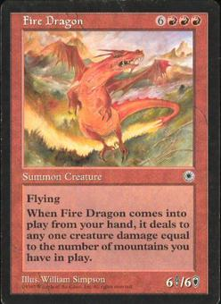Magic the Gathering Portal 1 Single Fire Dragon - SLIGHT PLAY (SP)