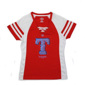 Texas Rangers Majestic Red Draft Me V-Neck Lace Up Tee Shirt (Womens L)