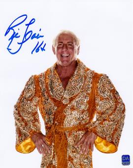 Ric Flair Autographed Gold Robe 8x10 Wrestling Photo