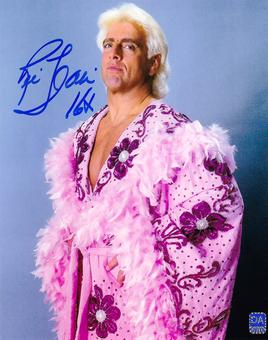 Ric Flair Autographed Pink Robe 8x10 Wrestling Photo