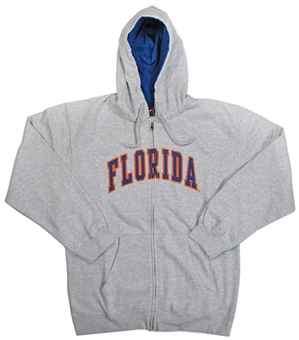 Florida Gators NCAA Genuine Stuff Grey Full Zip Fleece Hoodie (Size Large)