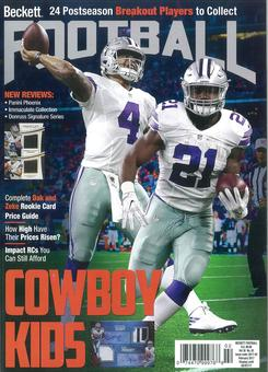 2017 Beckett Football Monthly Price Guide (#313 February) (Elliott & Prescott)