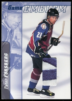 2000/01 BAP Signature Series Jersey Emblems Patch #E20 Peter Forsberg SP /10