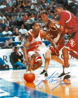 Steve Francis Autographed University of Maryland Terrapins 8x10 Photo (Press Pass)