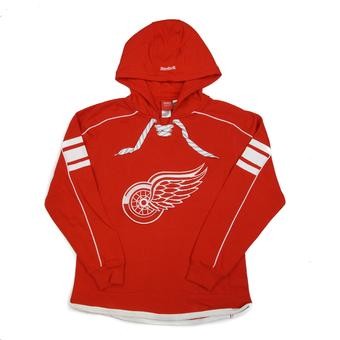 Detroit Red Wings Reebok Red Lace Up Fleece Jersey Hoodie (Adult S)