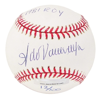 Fernando Valenzuela Autographed Baseball w/ROY Inscrip(Near Mint)(DACW COA)