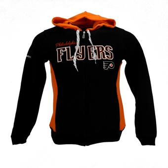 Philadelphia Flyers Reebok Black Full Zip Fleece Hoodie (Womens L)
