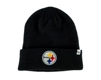 Pittsburgh Steelers '47 Brand Black Raised Cuff Knit Winter Hat (Adult One Size)