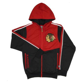 Chicago Blackhawks Old Time Hockey Chaser Black & Red Full Zip Hoodie (Adult S)