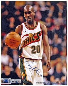 Gary Payton Autographed Seattle Super Sonics 5x7 Basketball Photo