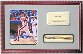 Gary Carter New York Mets Framed Photo & Game Used Bat Slice (UDA)