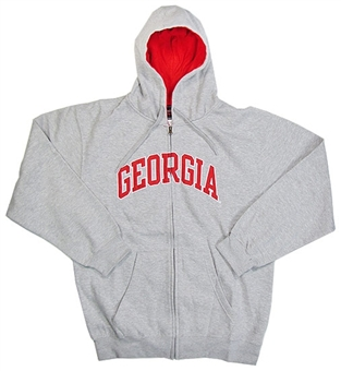 Georgia Bulldogs NCAA Genuine Stuff Grey Full Zip Fleece Hoodie (Size Medium)