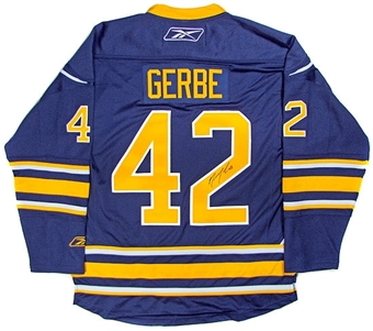 Nathan Gerbe Autographed Buffalo Sabres Blue Hockey Jersey