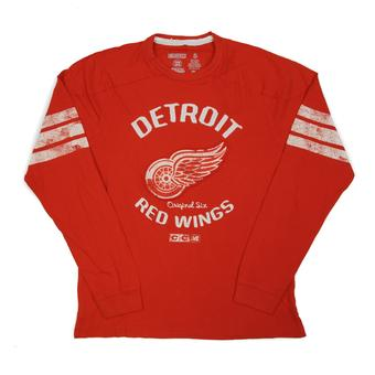 Detroit Red Wings CCM Reebok Red Name & Logo Applique L/S Tee Shirt (Adult M)