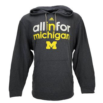 Michigan Wolverines Adidas Heather Navy Ultimate Fleece Hoodie (Adult S)