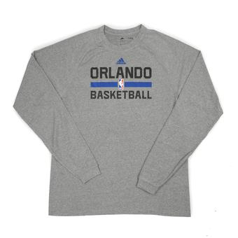 Orlando Magic Adidas Grey Practice Climalite Performance Long Sleeve Tee Shirt (Adult L)