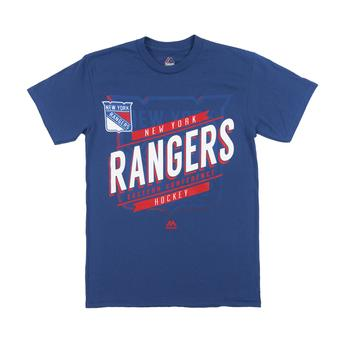 New York Rangers Majestic Blue Earn Each Play Tee Shirt (Adult S)