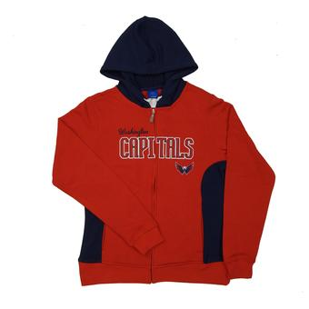 Washington Capitals Reebok Red & Navy Full Zip Fleece Hoodie (Womens L)