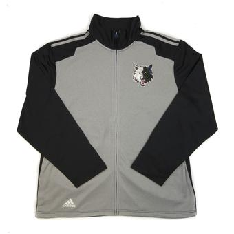 Minnesota Timberwolves Adidas Black & Grey Finished Performance Track Jacket (Adult S)