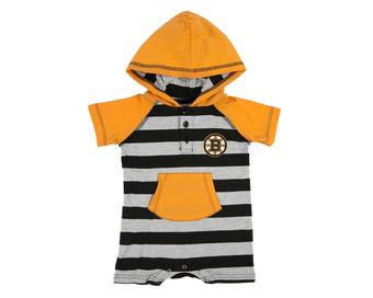 Boston Bruins Old Time Hockey Tickle Stripe Black Infant S/S Hoodie (Infant 12M)