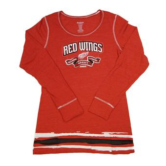 Detroit Red Wings Reebok Red Tri Blend Long Sleeve Tee Shirt (Womens S)