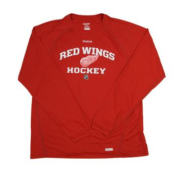 Detroit Red Wings Reebok Red Speedwick Performance Long Sleeve Tee Shirt (Adult S)